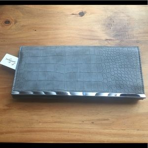 Gray Snakeskin Patterned Clutch with Chain